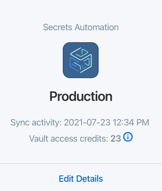 View the number of active vault access credits