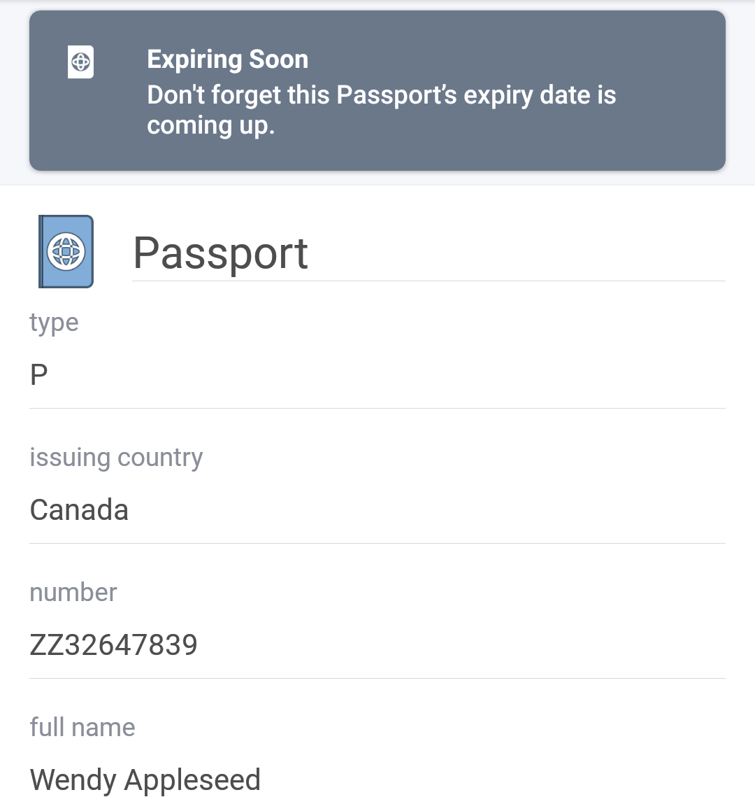 Expiring Passport item