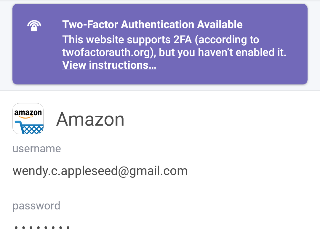 Item with inactive two-factor authentication