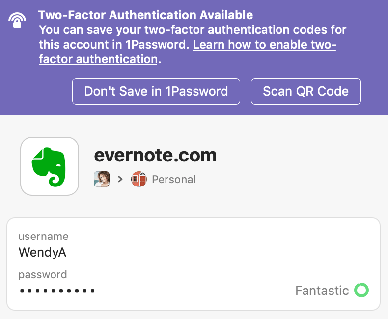 Item without two-factor authentication