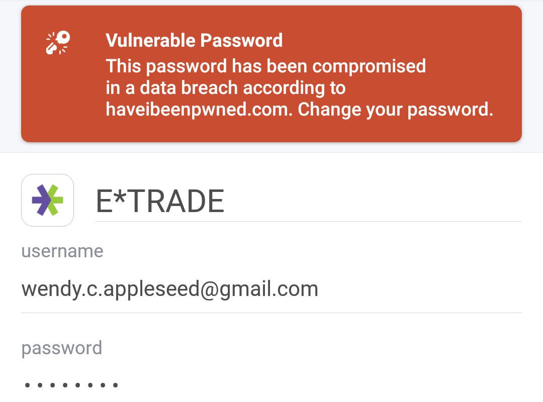 Item with a vulnerable password