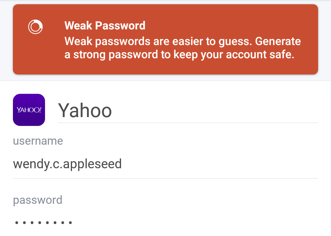 Item with a weak password