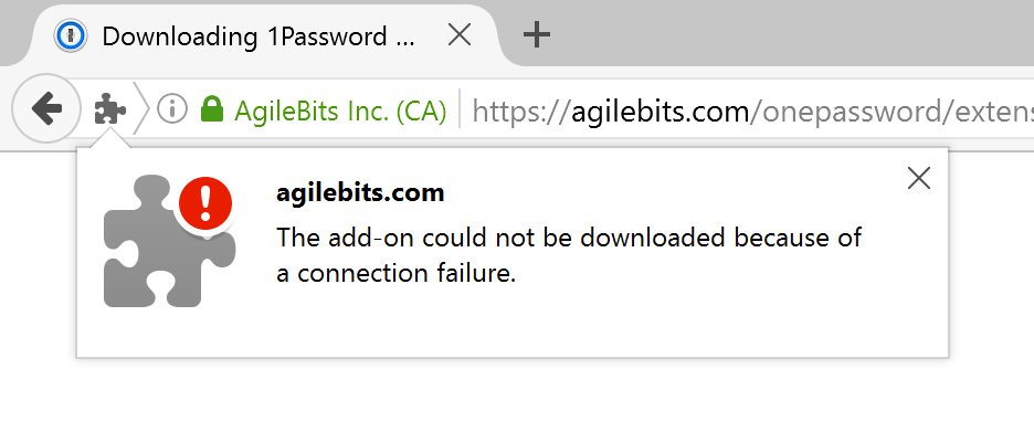 The add-on could not be downloaded because of a connection failure.
